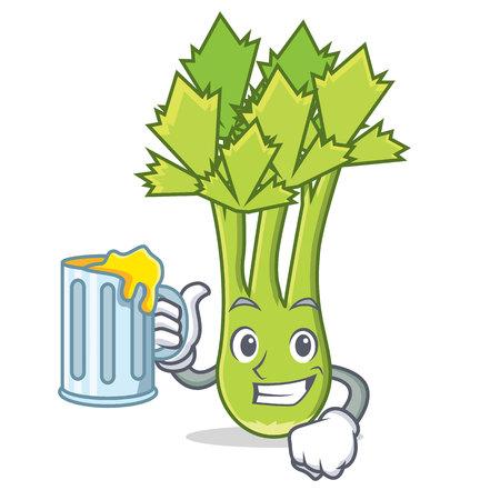 With juice celery mascot cartoon style vector illustration