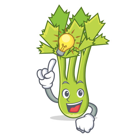 Have an idea celery mascot cartoon style vector illustration