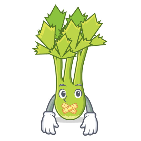 Silent celery mascot cartoon style vector illustration