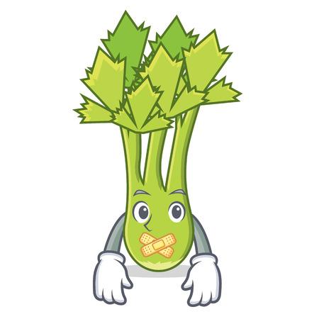 Silent celery mascot cartoon style vector illustration