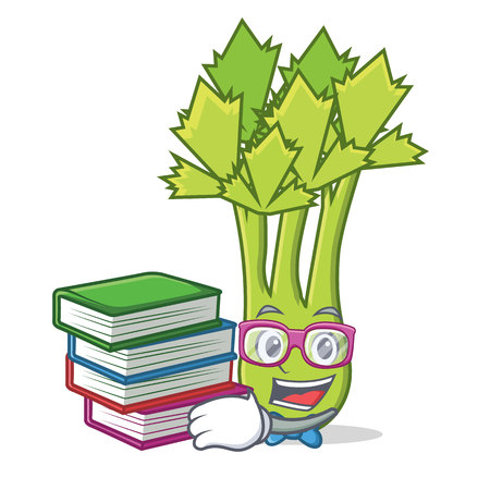 Student with book celery mascot cartoon style vector illustration Illustration