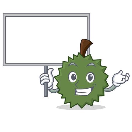 Bring board Durian character cartoon style vector illustration. Illustration