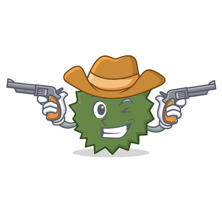 Cowboy Durian character cartoon style vector illustration