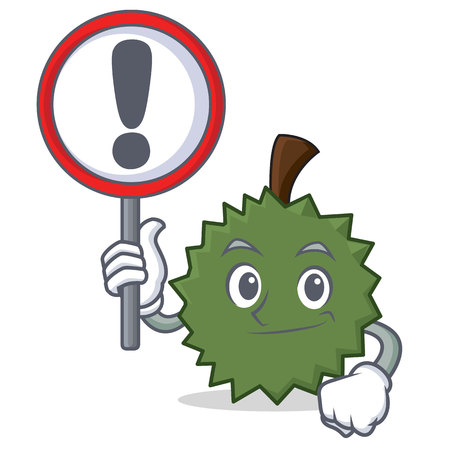With sign Durian character cartoon style vector illustration Illustration