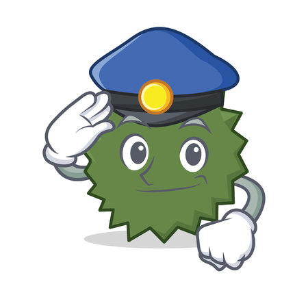 Police Durian character cartoon style vector illustration