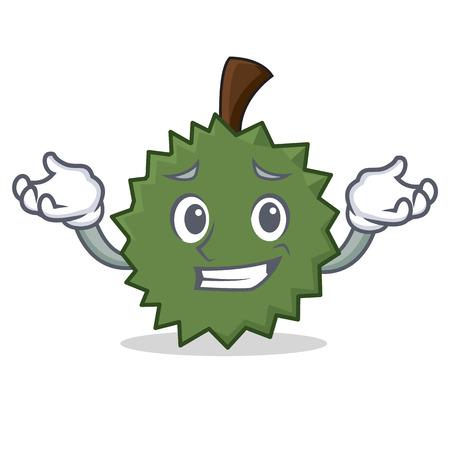 Grijnzende Durian karakter cartoon stijl vectorillustratie