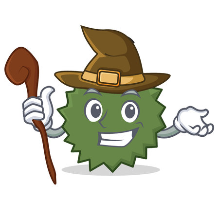 Witch Durian mascot cartoon style Illustration