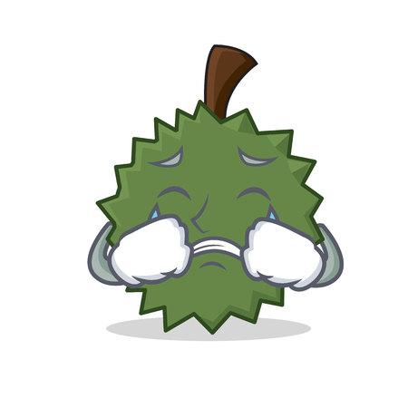 Crying Durian mascot cartoon style.