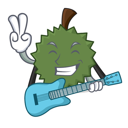 With guitar Durian mascot cartoon style