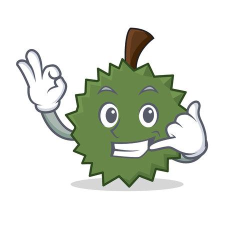 Call me Durian mascot cartoon style Illustration