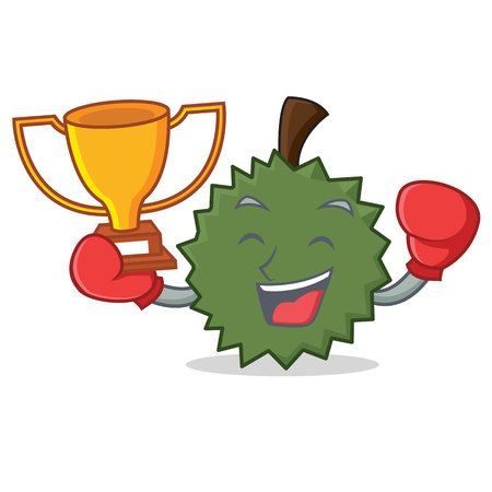 Boxing winner Durian mascot cartoon style Illustration