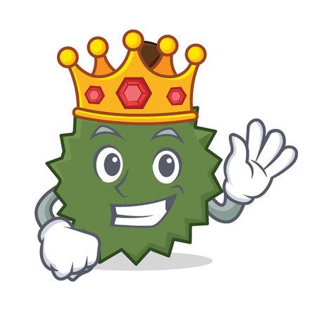 King Durian mascot cartoon style Illustration