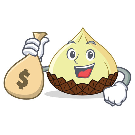 With money bag snake fruit character cartoon Illustration