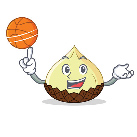 With basketball snake fruit character cartoon vector illustration