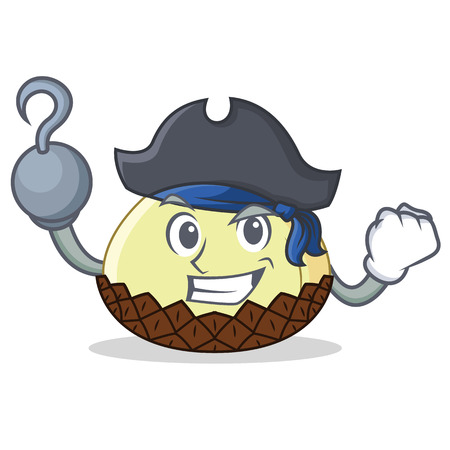 Pirate snake fruit character cartoon Illustration