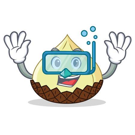 Diving snake fruit character cartoon vector illustration