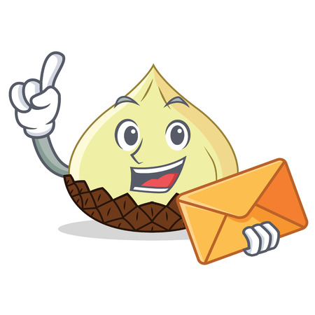 With envelope snake fruit character cartoon vector illustration