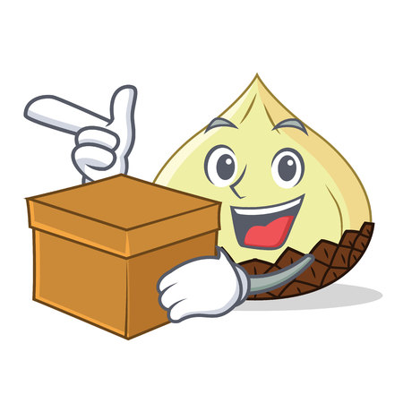 With box snake fruit character cartoon vector illustration