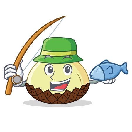 Fishing snake fruit mascot cartoon vector illustration