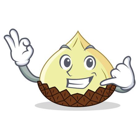 Call me snake fruit mascot cartoon vector illustration