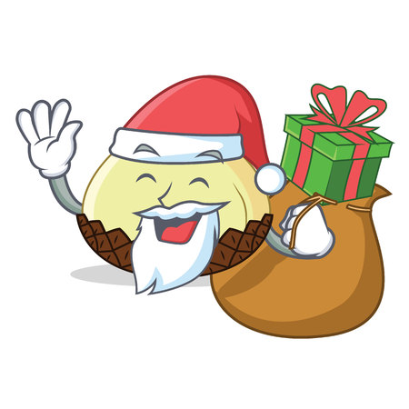 Santa with gift snake fruit mascot cartoon vector illustration