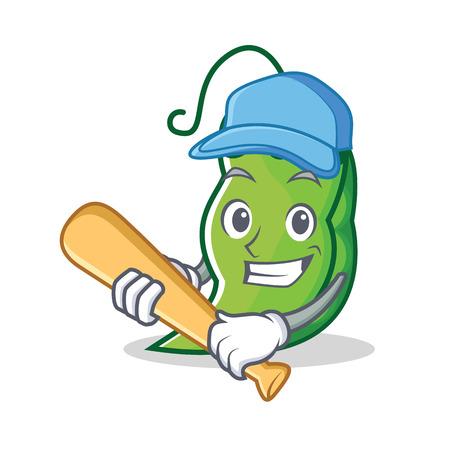 Playing baseball peas character cartoon style  イラスト・ベクター素材