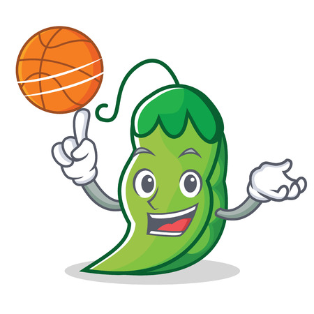 With basketball peas character cartoon style