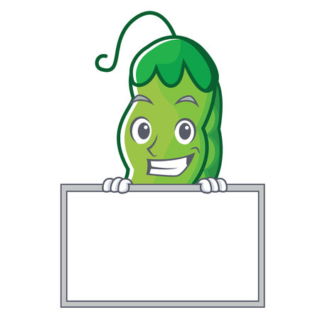 Grinning with board peas character cartoon style vector illustration