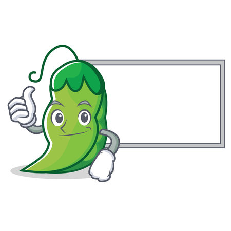 Thumbs up with board peas character cartoon style vector illustration