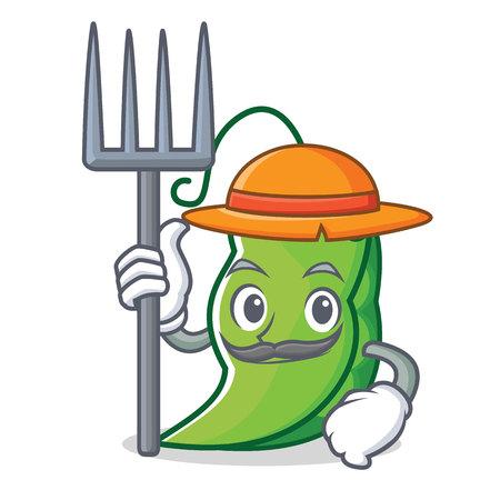農家エンドウ豆キャラクター漫画スタイル