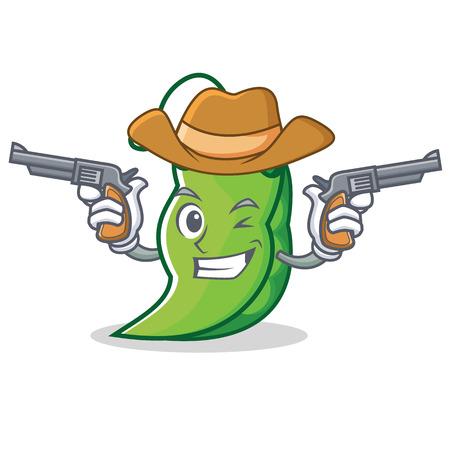 Cowboy peas character cartoon style  イラスト・ベクター素材