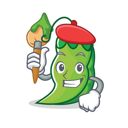 Artist peas character cartoon style Illustration