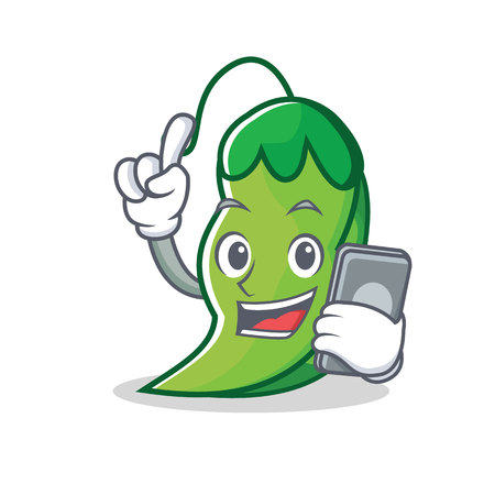With phone peas character cartoon style