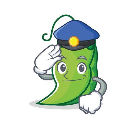 Police peas character cartoon style vector illustration  イラスト・ベクター素材