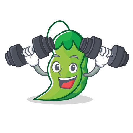 Fitness peas character cartoon style  イラスト・ベクター素材