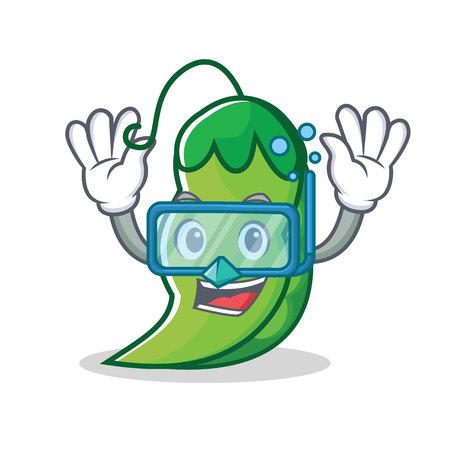 ダイビングエンドウ豆キャラクター漫画スタイル