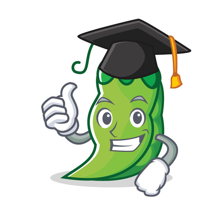 Graduation peas character cartoon style vector illustration Illustration
