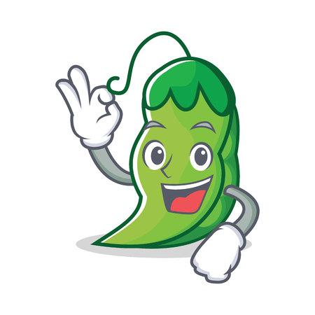 Okay peas character cartoon style vector illustration