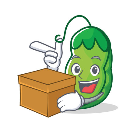 With box peas character cartoon style vector illustration