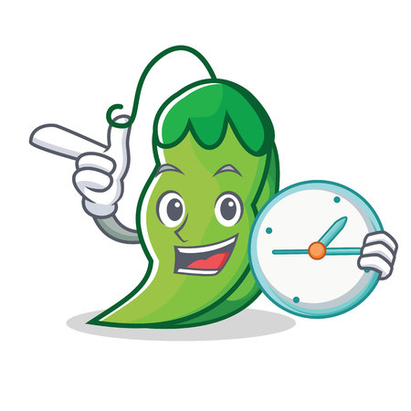 With clock peas character cartoon style vector illustration