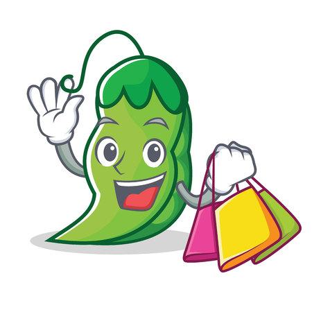 Shopping peas character cartoon style vector illustration