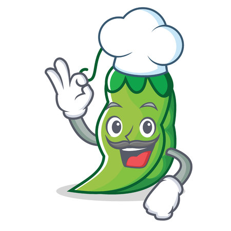 Chef peas character cartoon style vector illustration