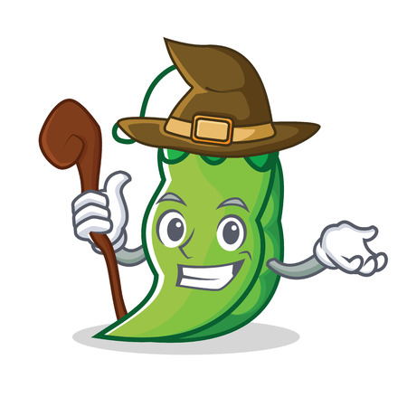 Witch peas mascot cartoon style Illustration