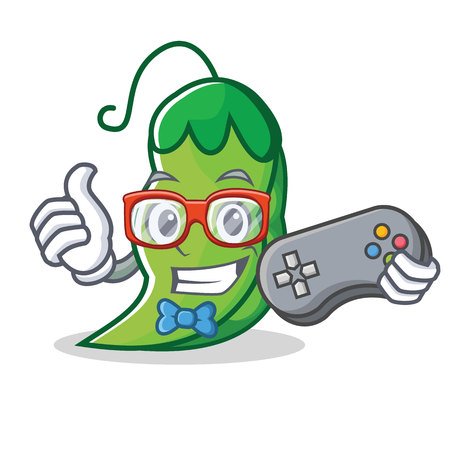 Gamer peas mascot cartoon style 写真素材 - 93634549