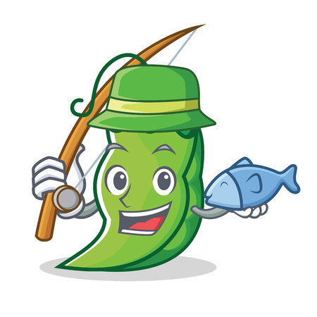 Fishing peas mascot cartoon style