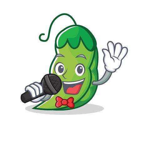 歌うエンドウ豆マスコット漫画スタイル