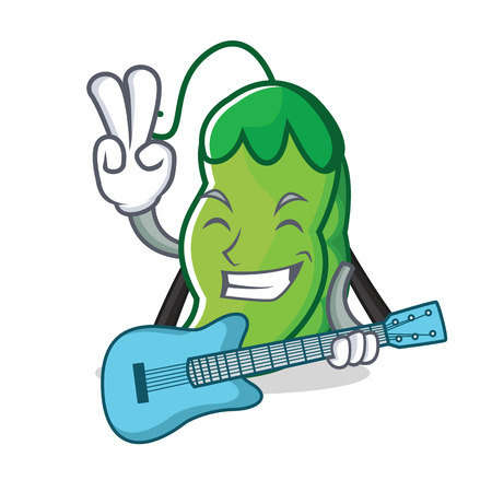 With guitar peas mascot cartoon style Illustration