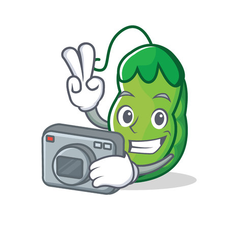 Photographer peas mascot cartoon style