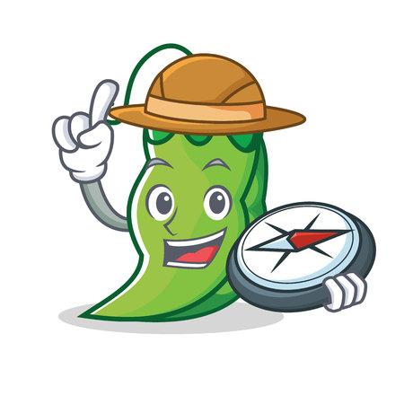 Explorer peas mascot cartoon style