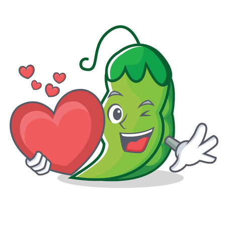 With heart peas mascot cartoon style 写真素材 - 93634554